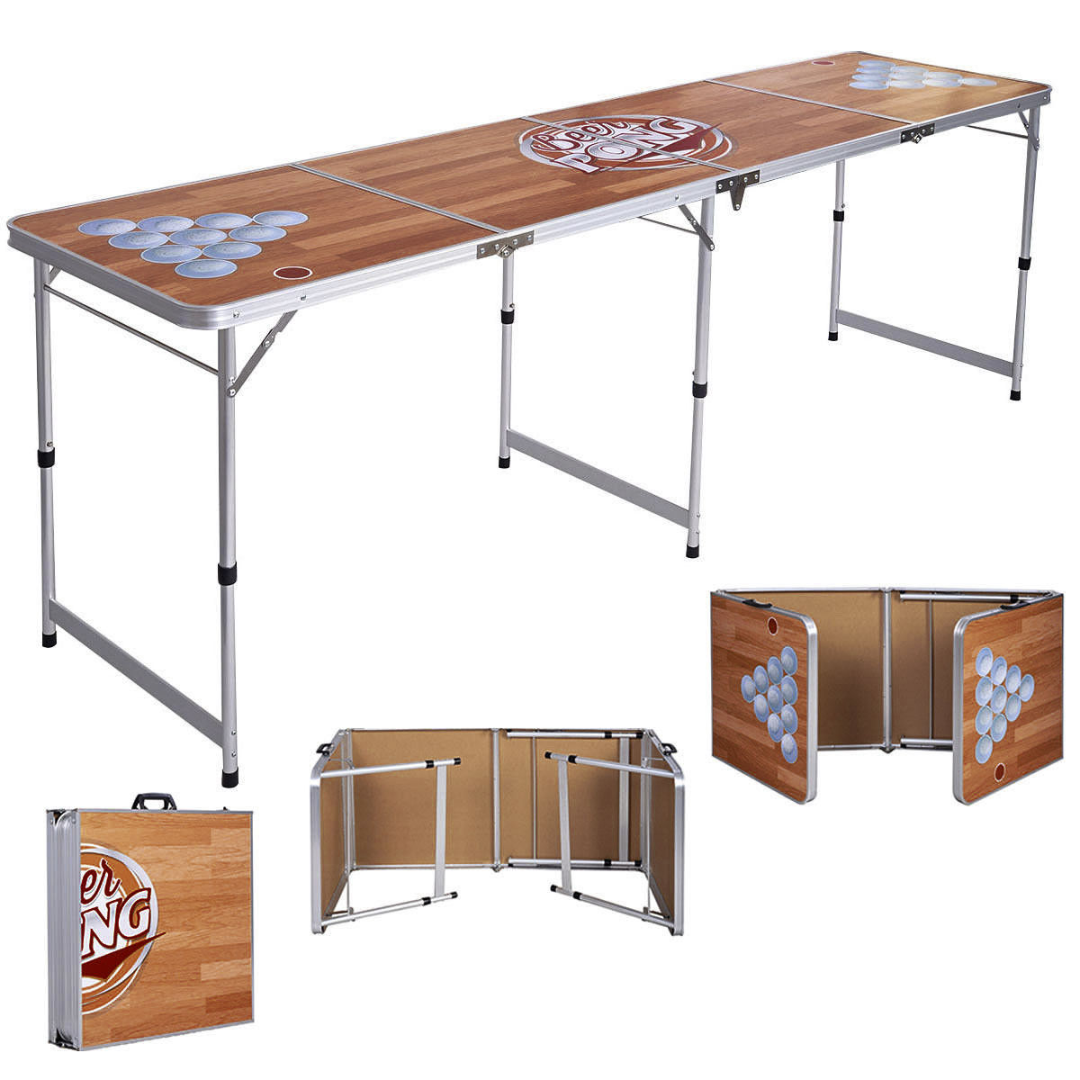 Costway Foldable Aluminum 8' Folding Beer Pong Table Portable Outdoor Indoor Game Party