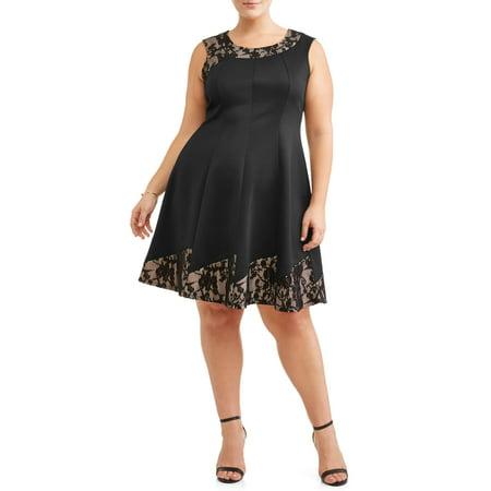 Plus Size Cinderella Dress (Women's Plus Size Sleeveless Lace Pieced Party)
