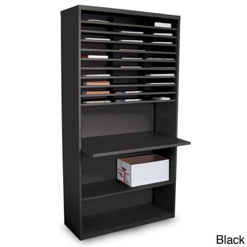 Marvel Mail Sorting Station with Adjustable Worksurface and 30 Cubbies Black