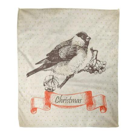 Lighting Modern Berries - KDAGR Flannel Throw Blanket Vintage Christmas Bullfinch and Ashberry Graphic Modern Ash Berry Beautiful 58x80 Inch Lightweight Cozy Plush Fluffy Warm Fuzzy Soft