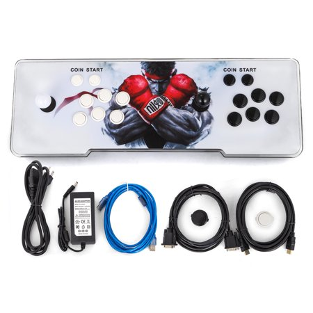 BestEquip Arcade Game Console with 7-Color Backlight 999 Classic Fight Game Console Double Players for Pandora's Box 5S + Arcade Gaming Console with HDMI VGA USB for TV PC (2P/Led Lights, 999in1/5s)