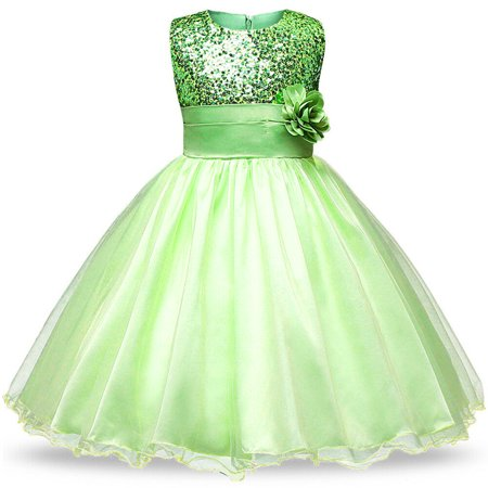 Styles I Love Little Kid Girls Sleeveless Sequin Tulle Flower Girl Dress Wedding Pageant Party Dresses 2-8Y, 5 Colors (Green, 130/4-5 Years) (Little Black Sequin Dress)