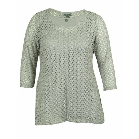 JM Collection Women's Crochet Top (0X, Silver Foil)