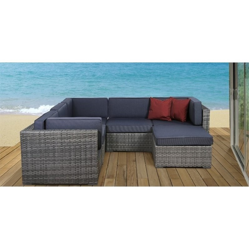 Bellagio 6-Piece Grey Wicker Seating Set with Grey Cushions