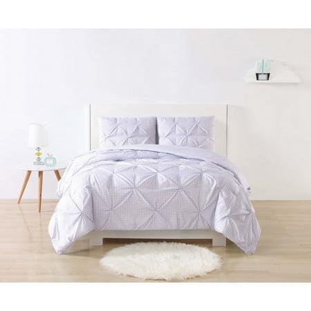 Laura Hart Kids Gingham Pinch Pleat Comforter Set - Purple Gingham