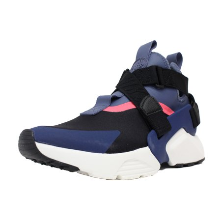 NIKE WOMENS AIR HUARACHE CITY SZ 6.5 BLACK DIFFUSED BLUE NAVY PINK AH6787