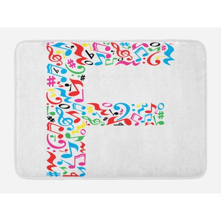 Letter F Bath Mat  Letter F Alphabet With Vibrant Music Notes Harmony Song Design Abc Graphic Print  Non Slip Plush Mat Bathroom Kitchen Laundry Room Decor  29 5 X 17 5 Inches  Multicolor  Ambesonne