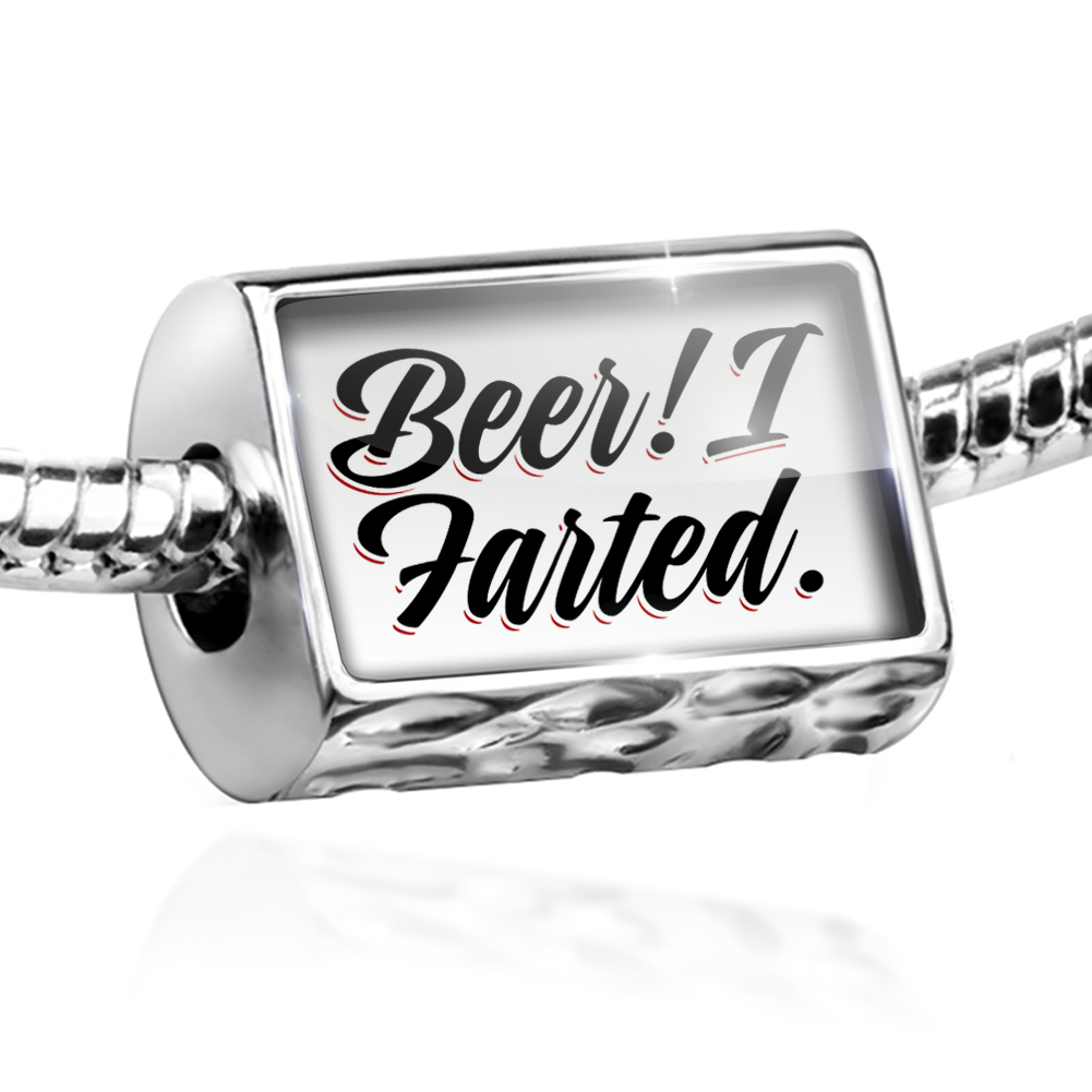 Bead Vintage Lettering Beer! I Farted. Charm Fits All European Bracelets