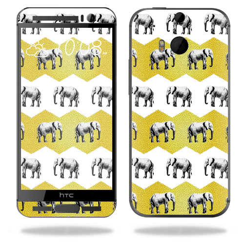 MightySkins Protective Vinyl Skin Decal for HTC One M9 Plus wrap cover sticker skins Elephant Chevron