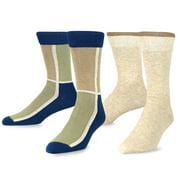 TeeHee  Combed Cotton Men's Crew Socks 2-pair Pack Mondrian & Plain