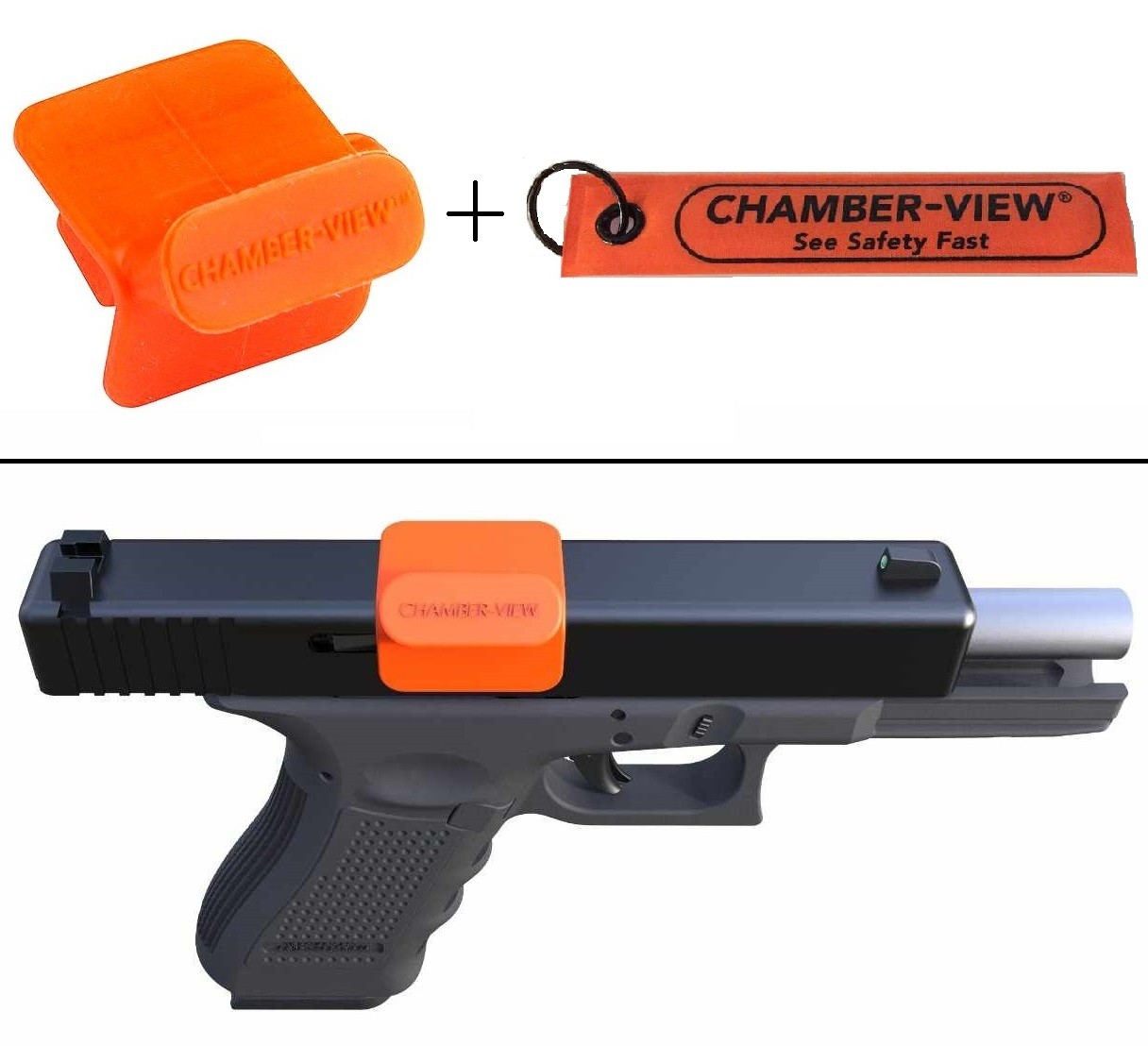 Ultimate Arms Gear Kimber Chamber-View 9mm .40 Cal Pistol Hand Gun Empty Chamber Safety Flag Dummy Ammunition Ammo Shell Round + Fast Pull-Tag Identification