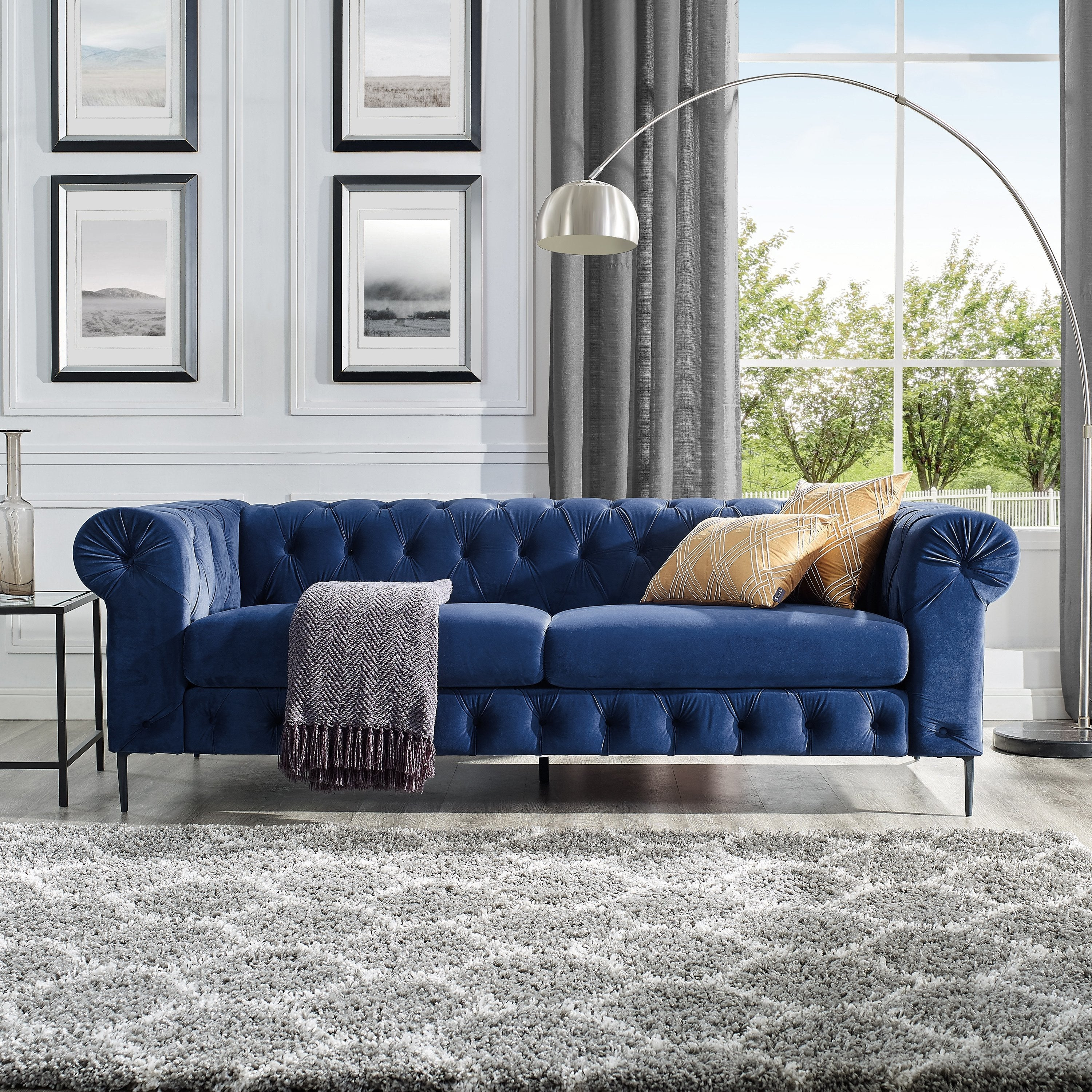 Corvus Prato Velvet Chesterfield Sofa With Rolled Arms Walmart Com Walmart Com