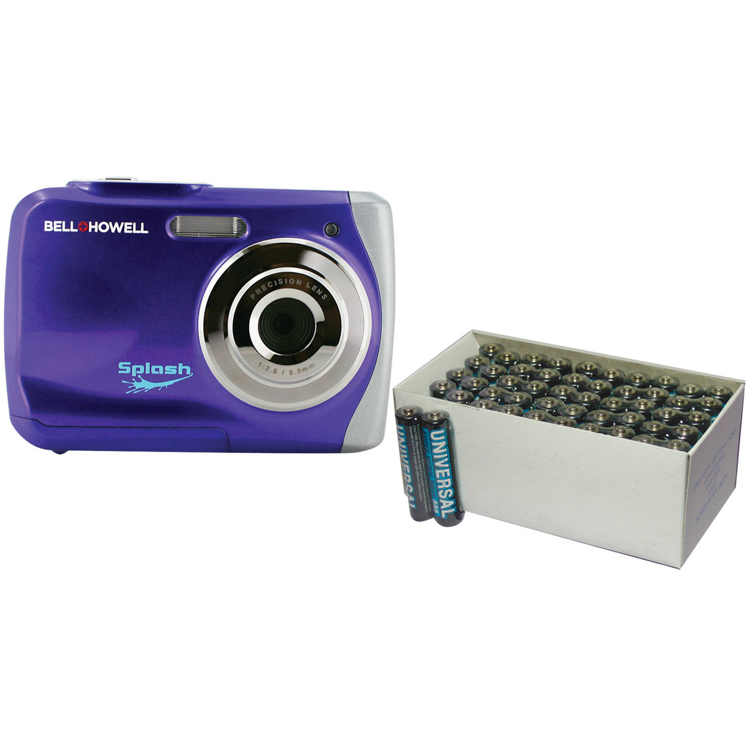 Bell+Howell Purple WP7 Waterproof Digital Camera with 12 Megapixels and UPG 50-Pack AAA Batteries