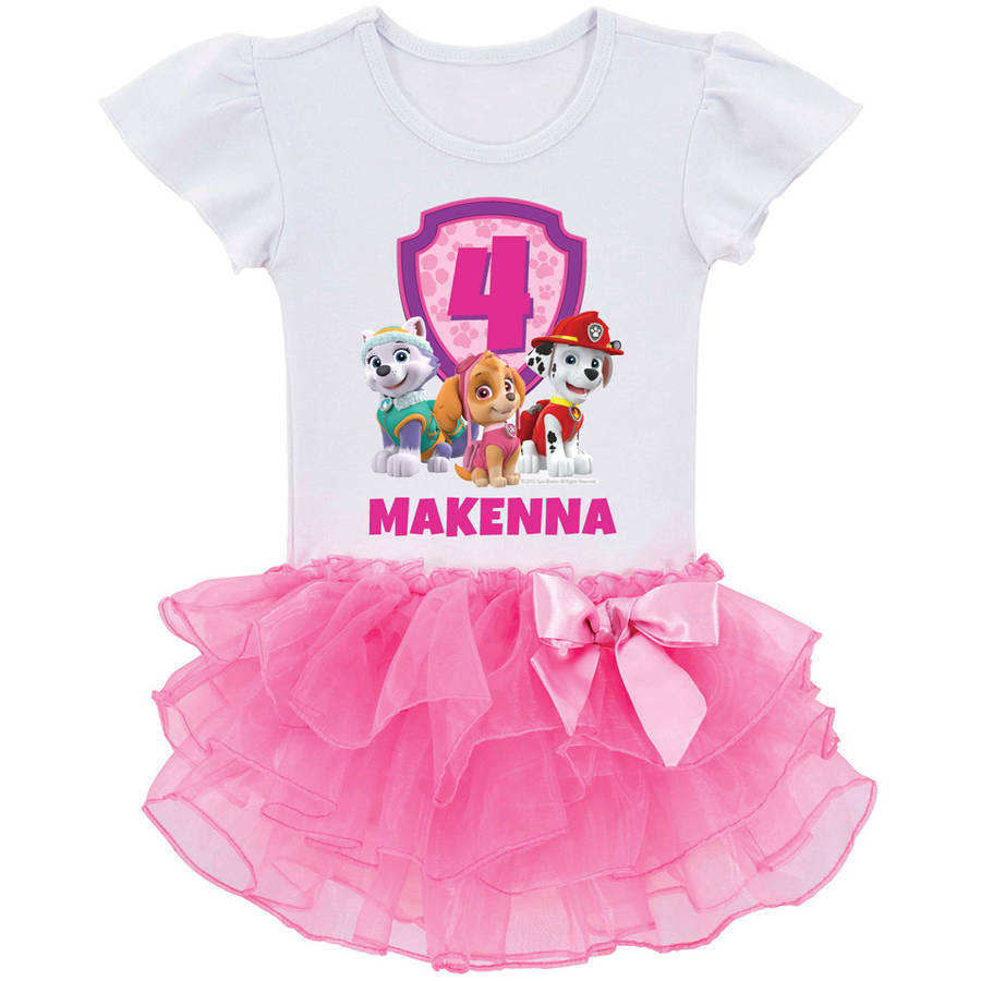 Personalized PAW Patrol Birthday Pups Toddler Girls' Tutu T-Shirt In Sizes: 2t, 3t, 4t, 5/6t