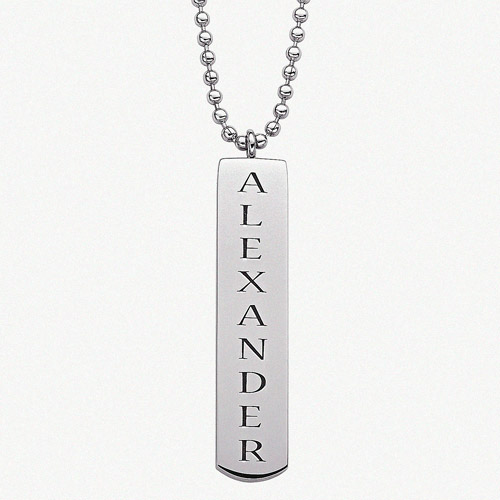 Personalized Stainless Steel Engraved Bar Name Pendant, 20""