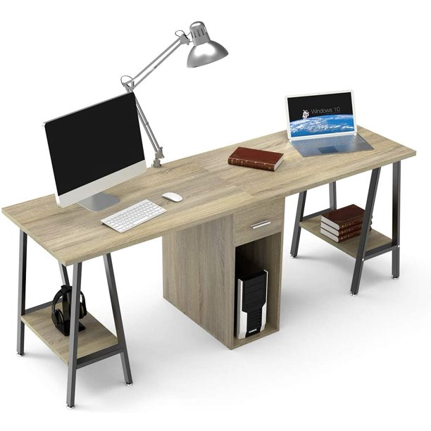 Dewel Two Person Desk Dual With, Double Desk Home Office With Drawers