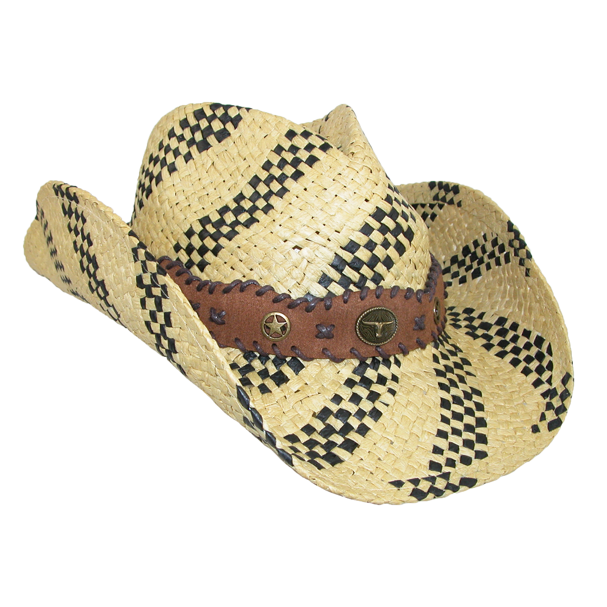 Something Special Two Tone Woven Cowboy Hat, , Size: one size Natural/Black