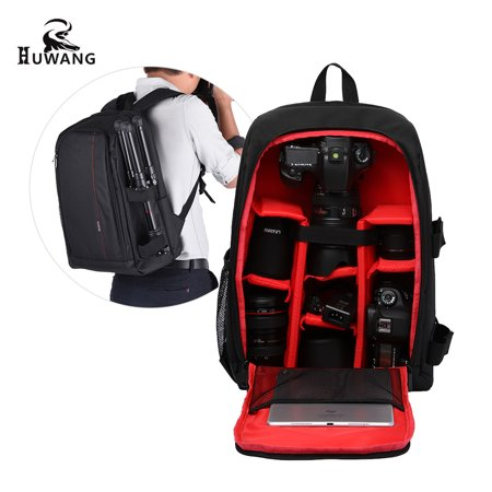 c83541ad9dff HUWANG Large Padded Camera Bag Outdoor Photography Travel Backpack Shock-proof  Water-resistant with