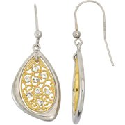 White Crystal Accent 14kt Gold-Plated Sterling Silver Oval Beaded Filigree Triangular White Frame Drop Earrings