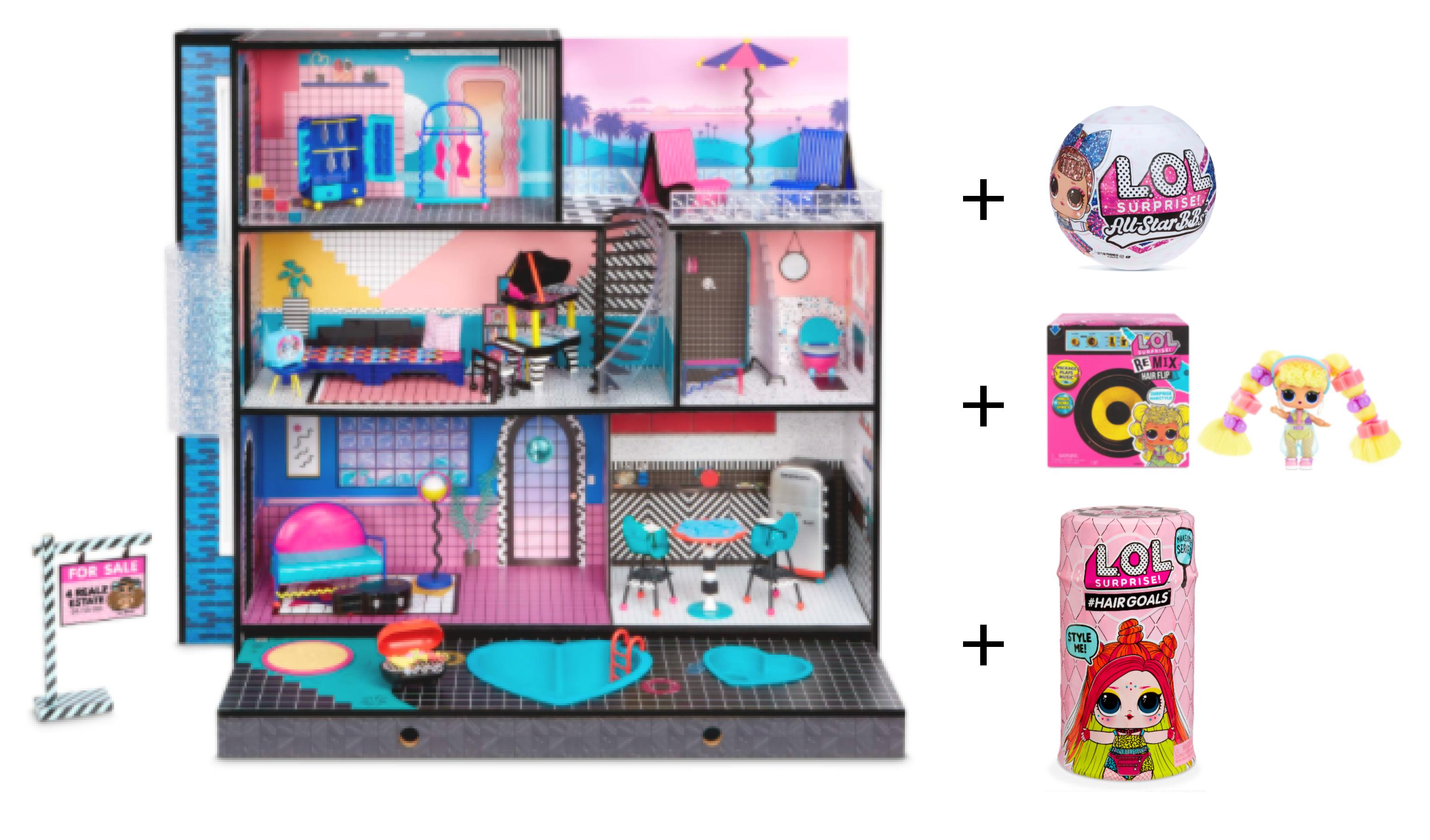 Special Cyber Bundle- L.O.L. Surprise! O.M.G. Wood Doll House plus 3 extra L.O.L. Surprises! - Walmart.com