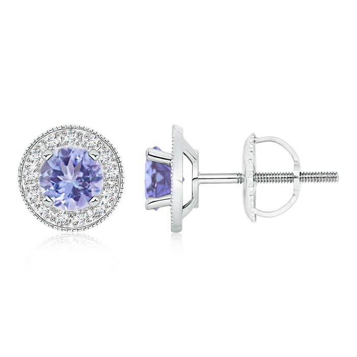 Angara 6mm Sapphire and Diamond Halo Stud Earrings in White Gold ZtBHJmA1m