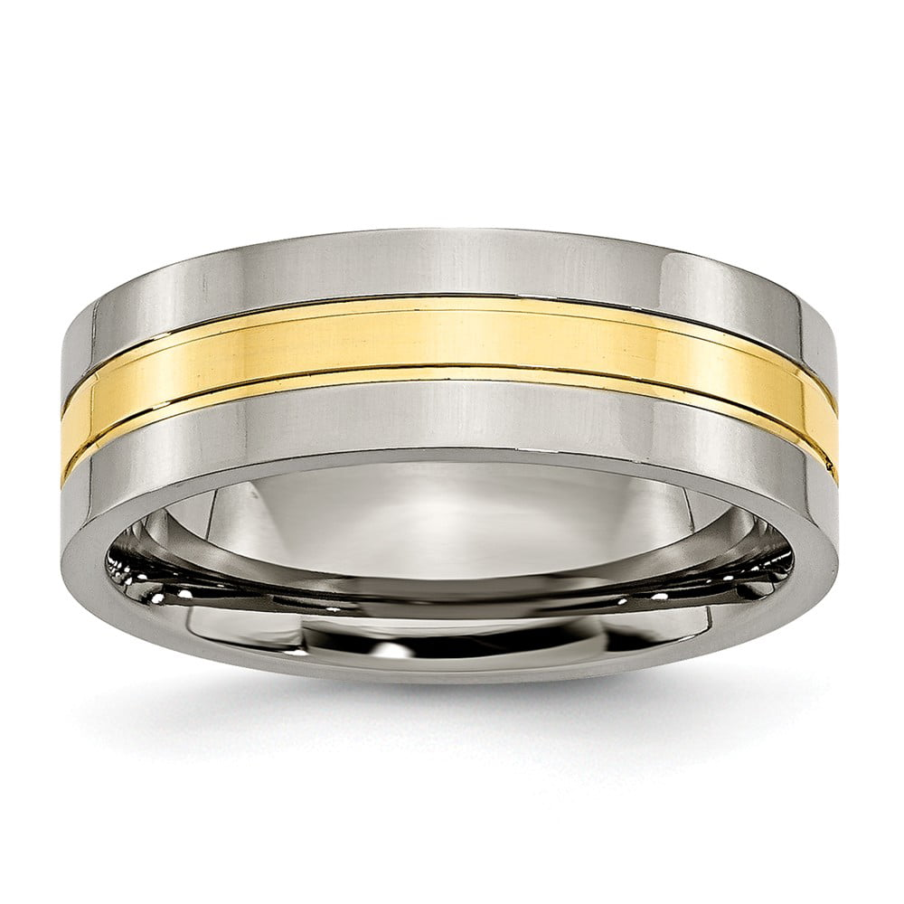 Titanium Yellow IP-plated 7mm Polished Band Size 13.5 by Diamond2Deal