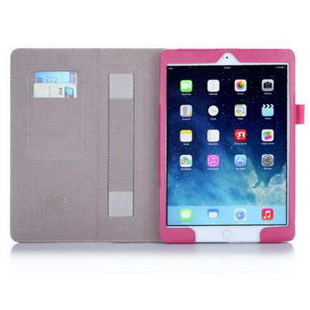 i-Blason Slim Carrying Case (Book Fold) for Apple iPad Air, Business Card, Credit Card - Magenta - Polyurethane Leather - Hand Strap - 9.8