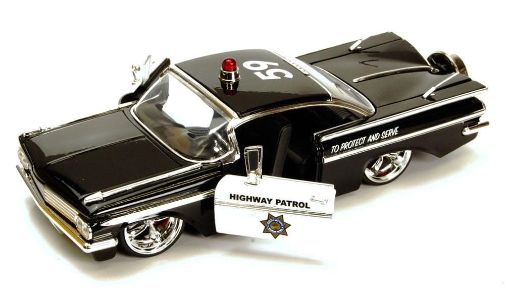 1959 Chevy Impala Highway Patrol Car, Black Jada Toys Heat 96396 1 24 scale Diecast Model... by Jada