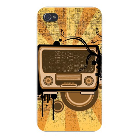 Apple Iphone Custom Case 5 / 5s White Plastic Snap on - Old Style Radio w/ Abstract Circles & Stripes