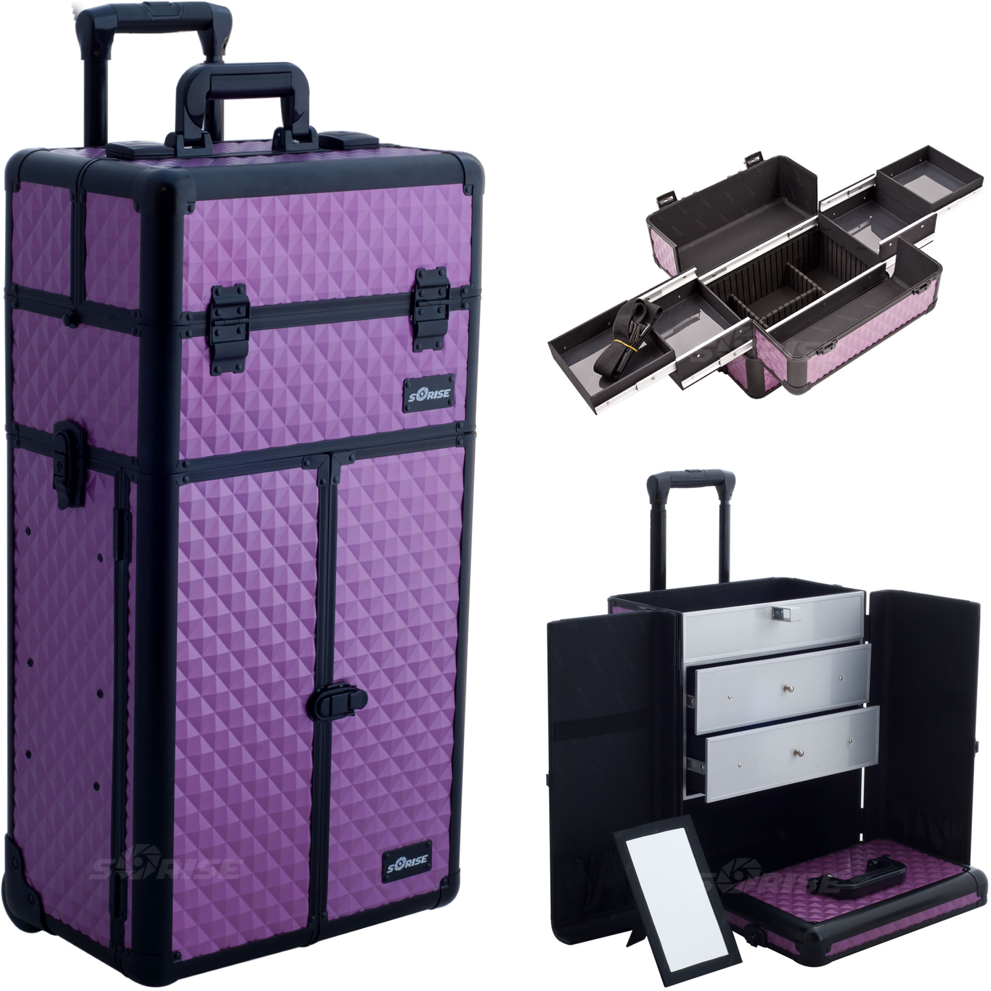 Sunrise Purple Diamond Professional Rolling Aluminum Cosmetic Makeup Case French Door Style with Large Drawers and Easy-Slide Trays I3166
