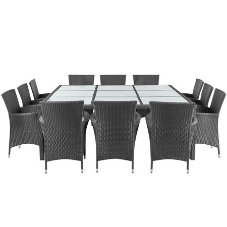 HERCHR 13 Piece Outdoor Dining Set with Cushions Poly Rattan Black ()
