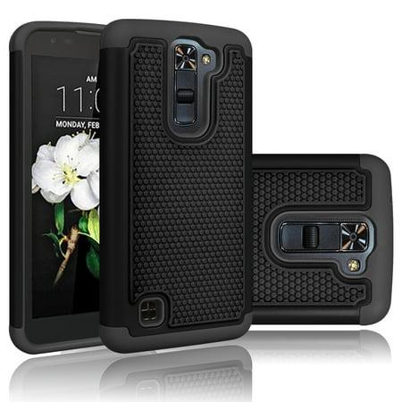 LG Treasure LTE Case, LG K7 Case, LG Tribute 5 Case, Tekcoo [Tmajor] [Coal Black] Shock Absorbing Hybrid Rubber Plastic Impact Defender Rugged Hard Cases Cover Shell For LG Tribute 5 / K7 / Treasure