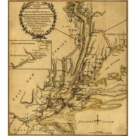The seat of action between the British and American forces or An authentic plan of the western part of Long Island with the engagement of the 27th August 1776 between the Kings forces and the