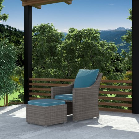Astonishing Cosco Outdoor 2 Piece Patio Set Lounge Chair Multifunctional Ottoman Table Gray Wicker Teal Blue Cushions Pabps2019 Chair Design Images Pabps2019Com