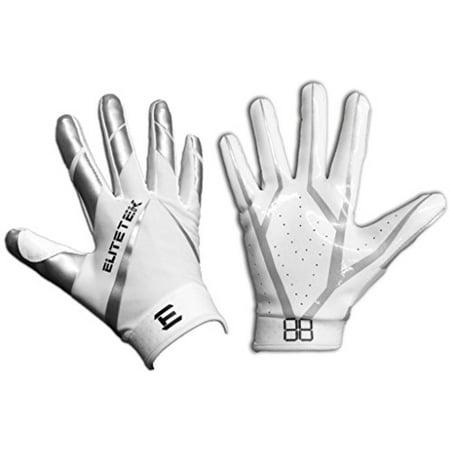 EliteTek RG-14 Football Gloves (White Silver 565bb9087bca