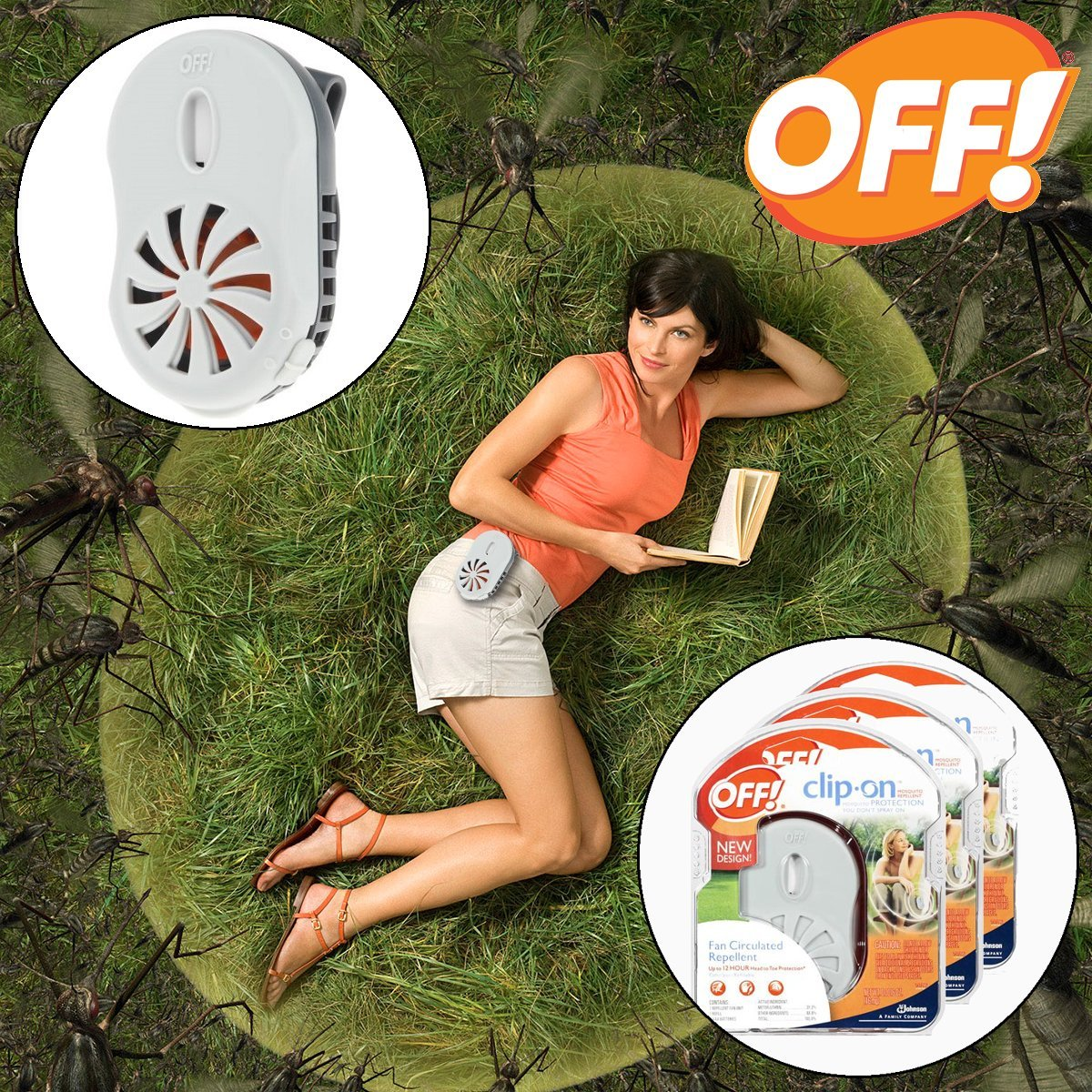 OFF! Mosquito Repellent Clip-On Fan Starter Kit, 3 pack