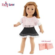 "18 inch doll clothes denim skirt and pink lace shirt outfit | fits 18"" american girl dolls 