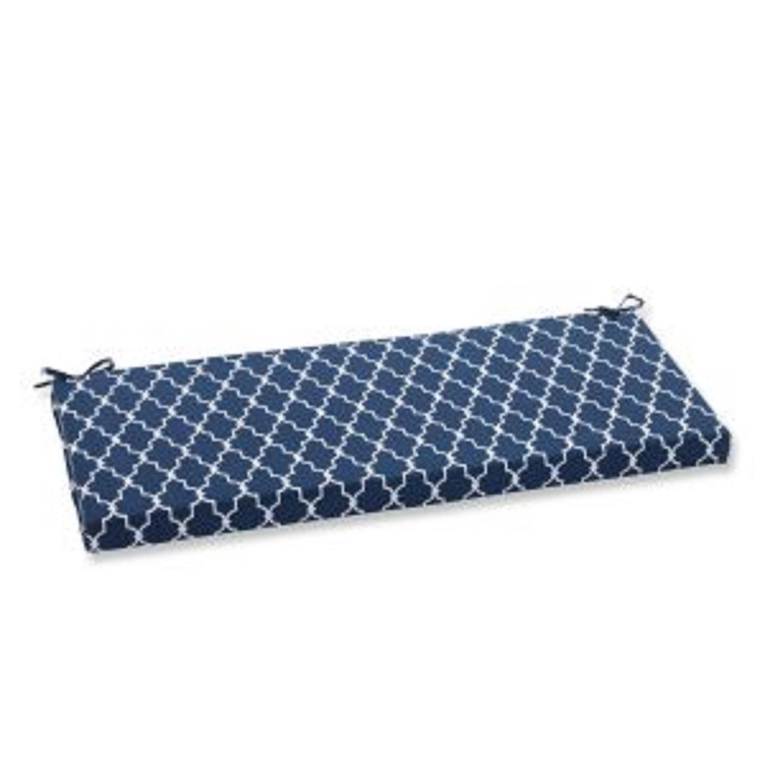 "45"" Moroccan Gate Navy Blue and White Bench Cushion"