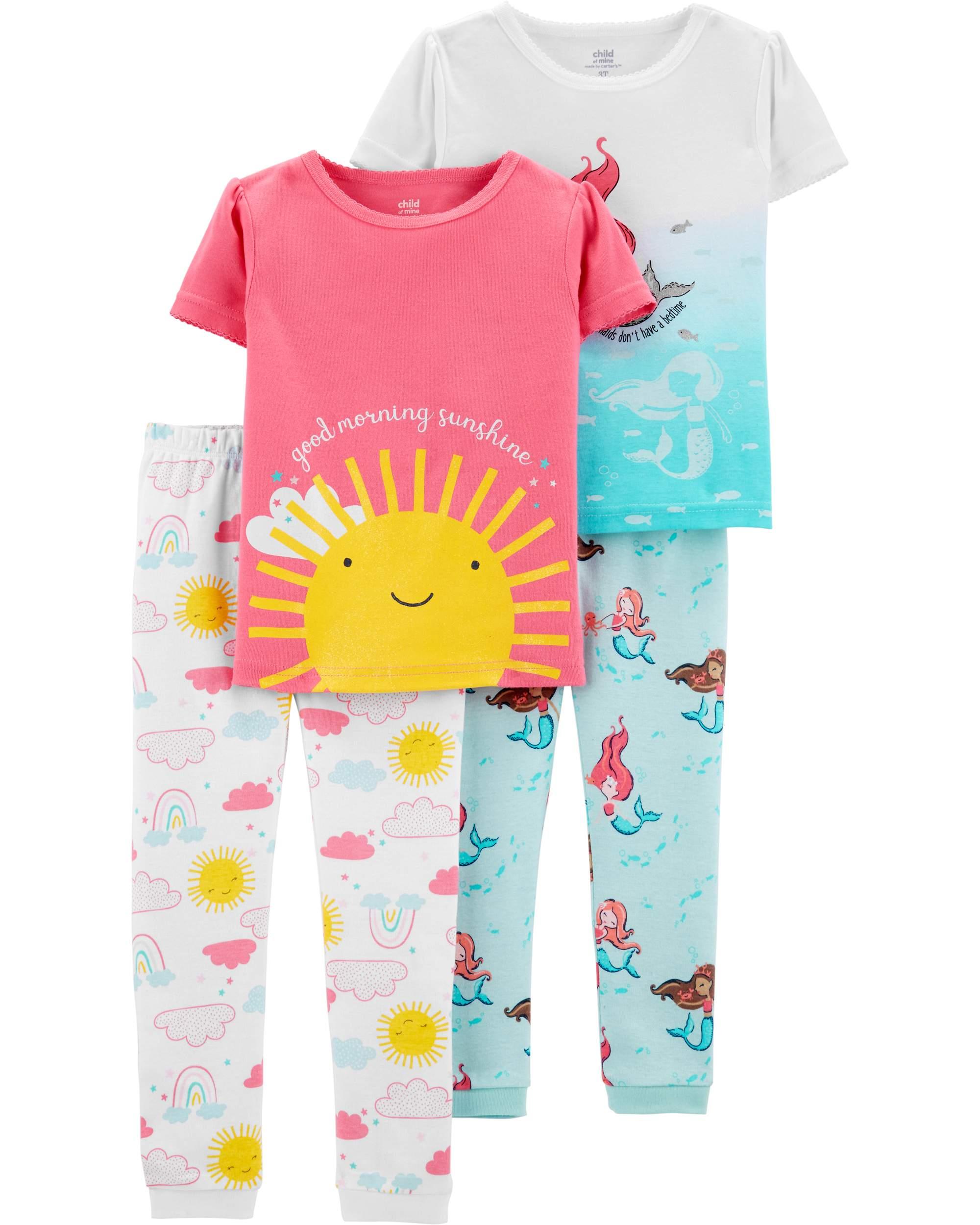 Short Sleeve T-Shirt and Pant Cotton Pajama Bundle, 2 sets (Toddler Girls)