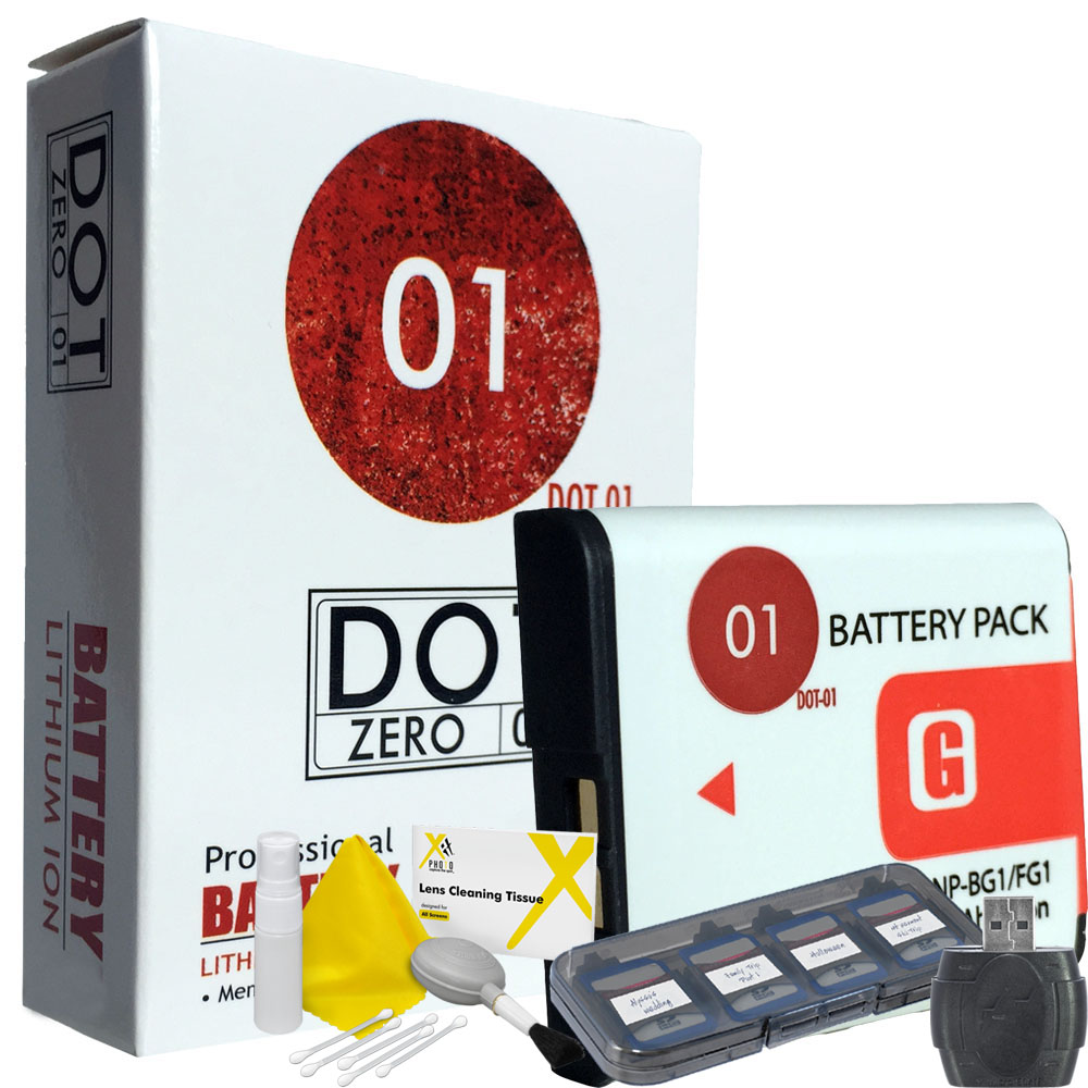 DOT-01 Brand 1400 mAh Replacement Sony NP-BG1 Battery for Sony DSC-W70 Digital Camera and Sony BG1 Accessory Bundle