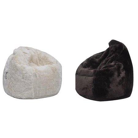 3fa14b73bb (Set of 2) Modern Posh Bean Bag Chairs in Cream and Dark Brown - Walmart.com