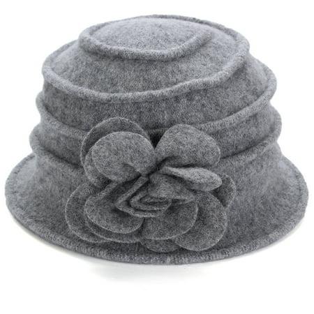 Winter Women Wool Cloche Bucket Hat (Womens Kangol Cloche Hats)