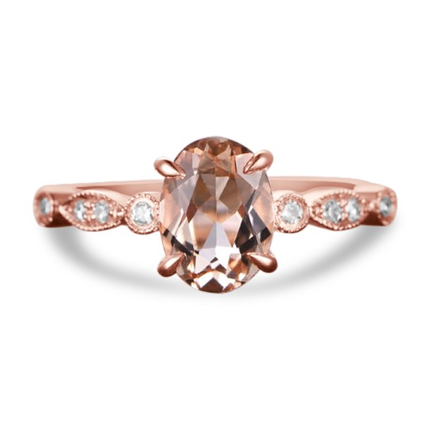 1.25 carat Morganite and Diamond Engagement Ring in 14k Rose Gold for Women Under 300