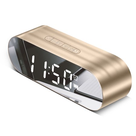 Multifunctional Mini Digital Alarm Clock FM Radio Mirror Surface Bluetooth Speaker with AUX TF Card Music