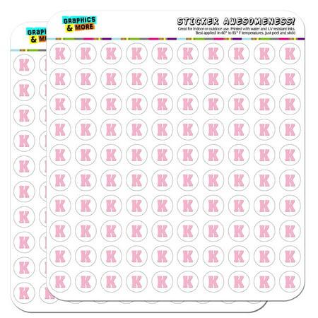 Letter K Initial Baby Girl Block Font Pink Shower 1/2