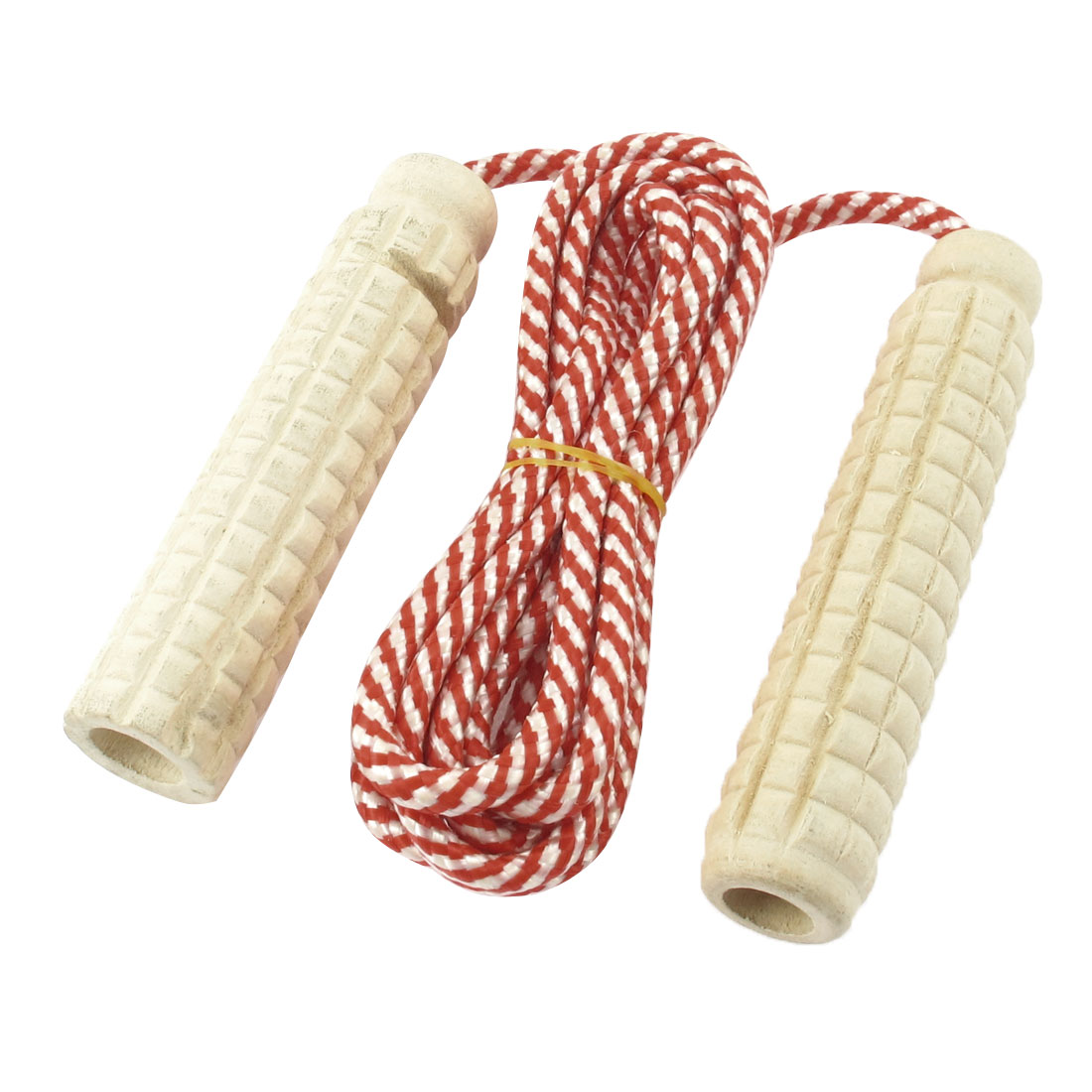 Unique Bargains 7.1 Ft Nylon String Wooden Grips Fitness Exercise Jump Rope Skipping Rope