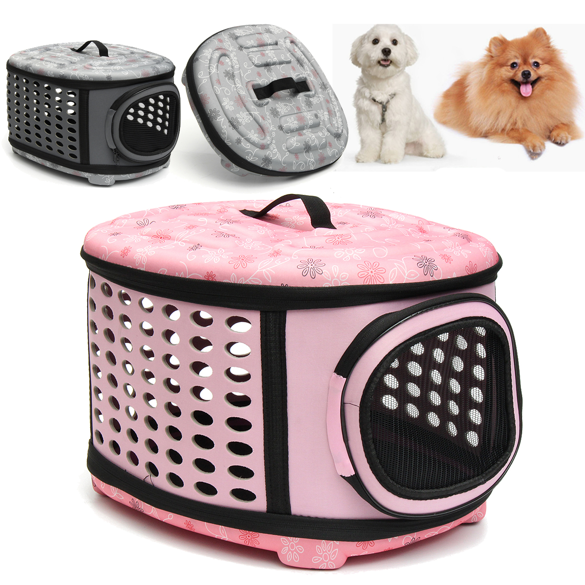 "18""x 15""x 13"" Outdoor Travel Pet Carrier Shoulder Bag Folding Soft and Breathable Small Dogs and Cats Cages House"