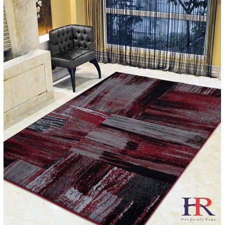 Red/Grey/ Silver/Black/ Abstract Contemporary Modern Design Mixed Brush Pattern Colors Area Rug