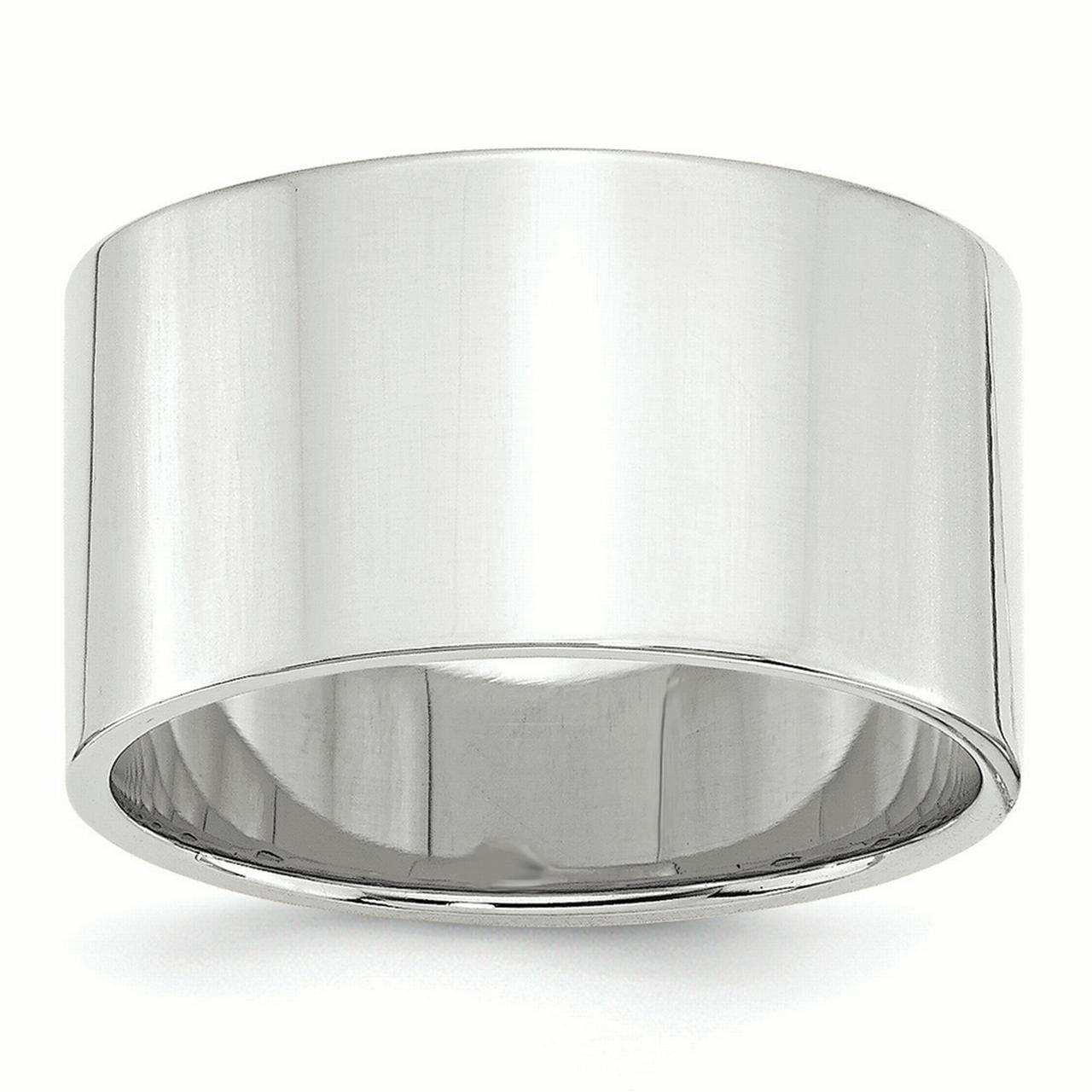 Lex & Lu 14k White Gold 12mm LTW Flat Band Ring