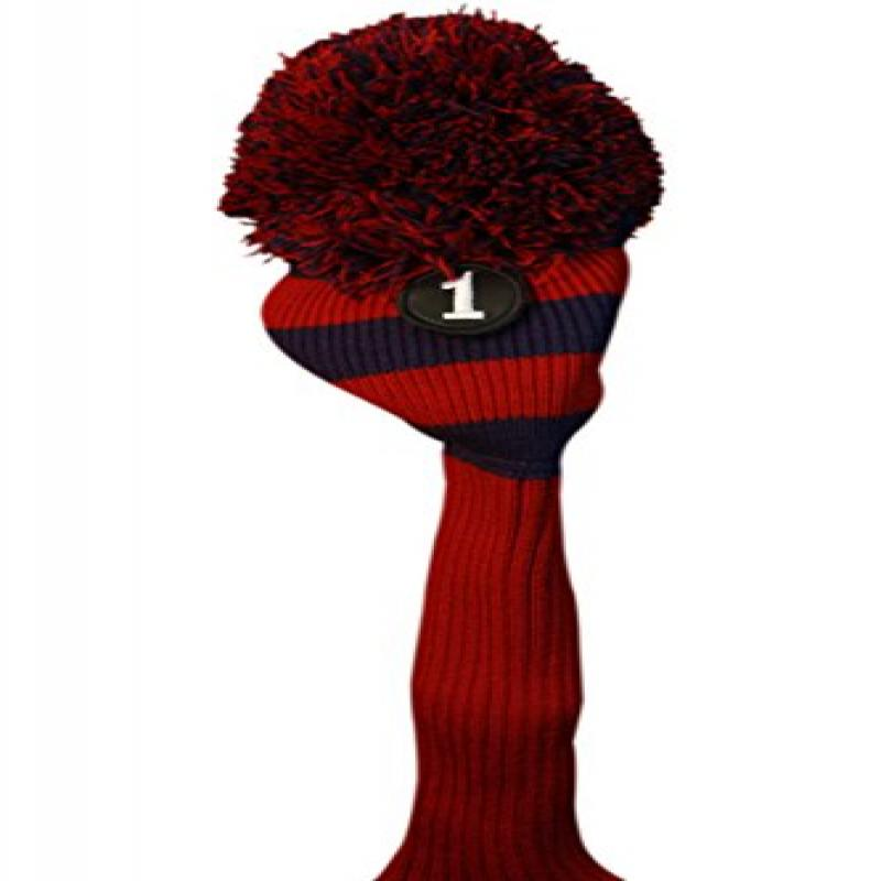 Majek #1 460cc Driver Red & Blue Golf Headcover Knit Pom ...